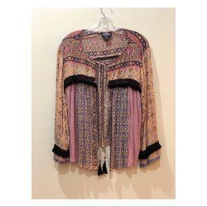 ANGIE Bohemian Multi-Color Print Shirt SZ M